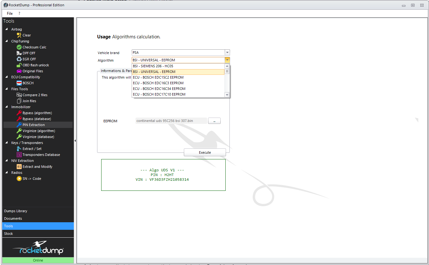 RocketDump - Best software solution for immo off, immo